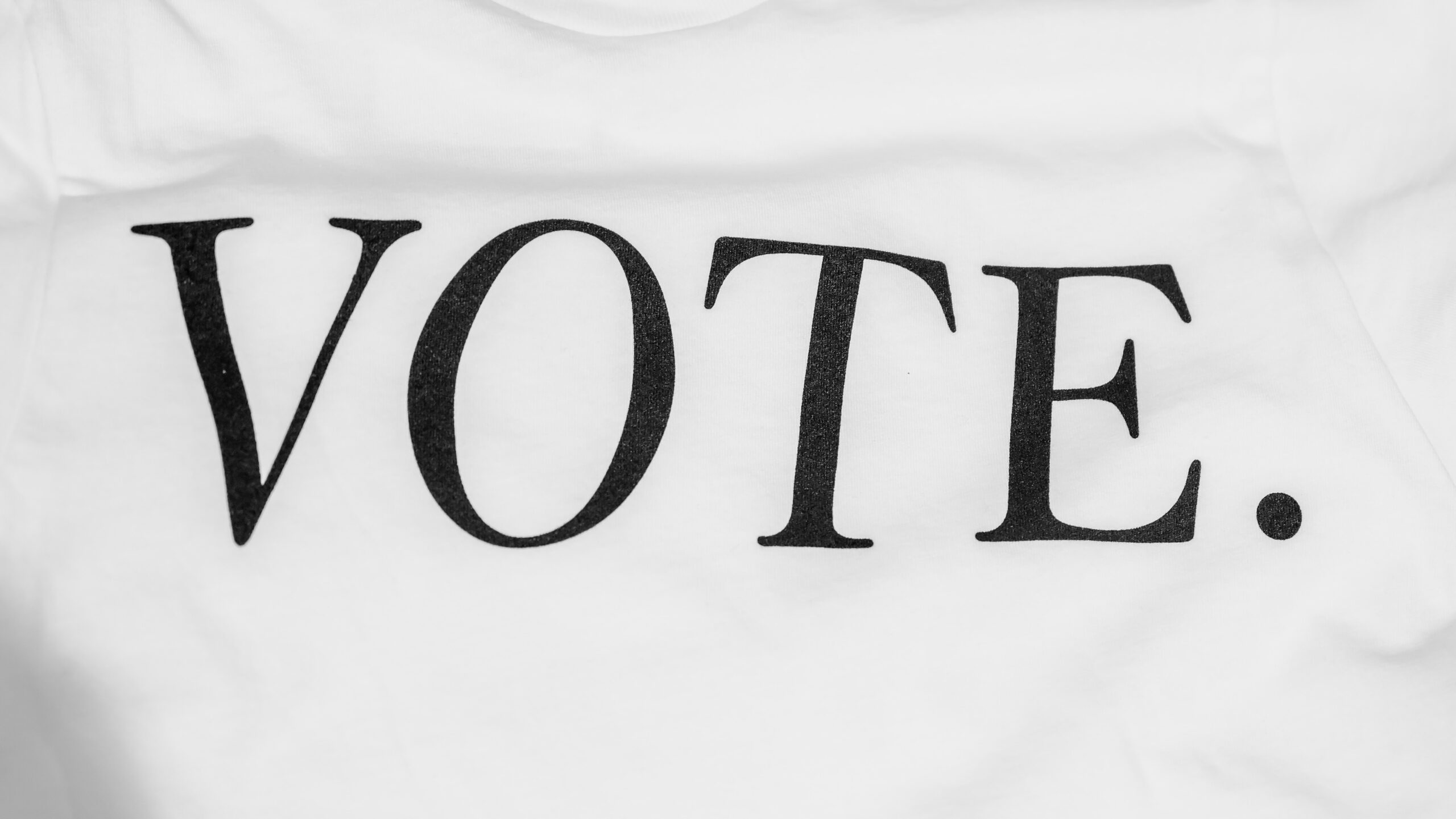 The word vote written on a white flag